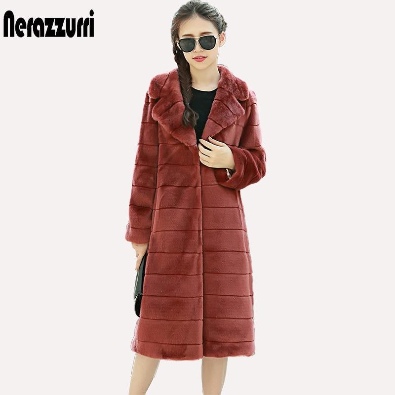 Nerazzurri Winter Faux Pelzmantel Frauen Revers Lang Gestreift - Damenbekleidung