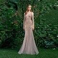 New Mermaid Robe De Soiree Long Sleeves Lace Applique Sequins Sexy Evening Dress Vestidos De Festa 2017 Evening Dress