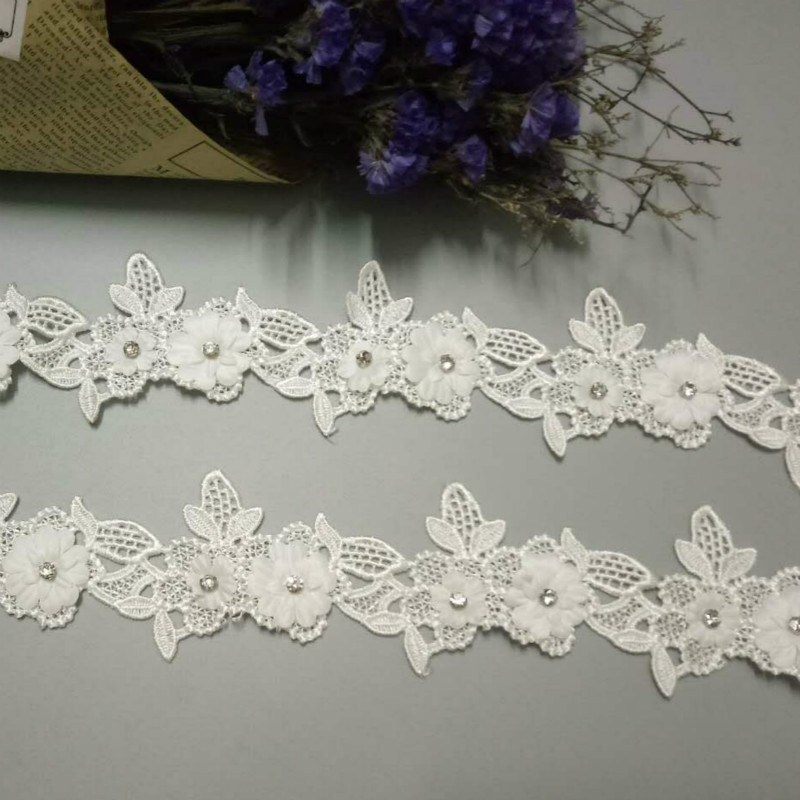 5 Yards White Cotton Floral Sewing Lace Trimming Craft Applique Ribbon DIY