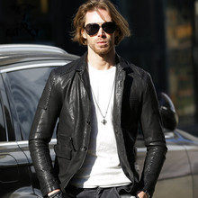 2017 New Men Long Genuine Leather Jacket Black Stand Collar Single Breasted Real Sheepskin Men Winter Casual Coat FREE SHIPPING