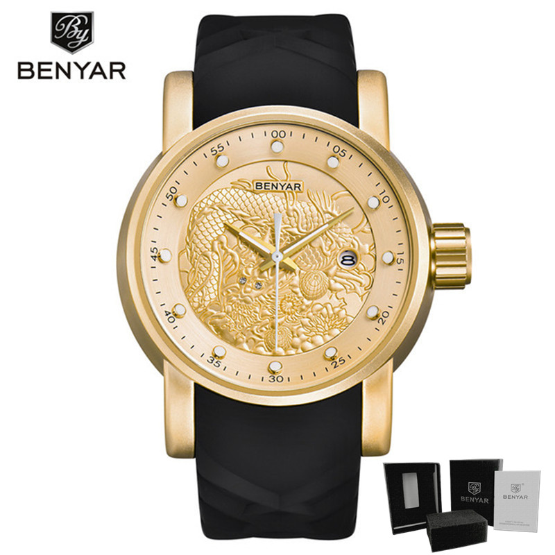 Watches Men luxury brand gold dragon watch male quartz wristwatches big dial waterproof clock with calendar Reloj Hombre
