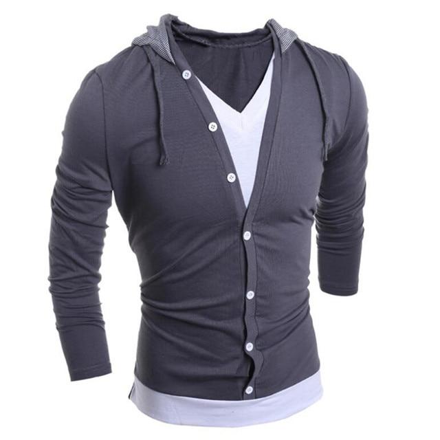 Himanjie t shirt dos homens novos de 2016 moda masculina com capuz costura projeto topos & T da Camisa de T Dos Homens de Manga Longa Masculino Magro Tops XXL