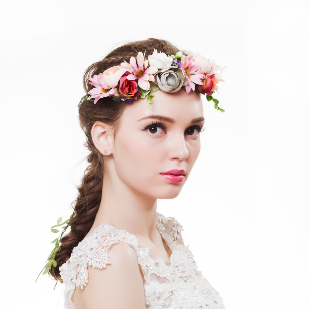 2018 women flower crown festival wedding girls party floral headband 2018 women flower crown festival wedding girls party floral headband garlands halo with ribbon rattan flower headband wreath in hair accessories from izmirmasajfo