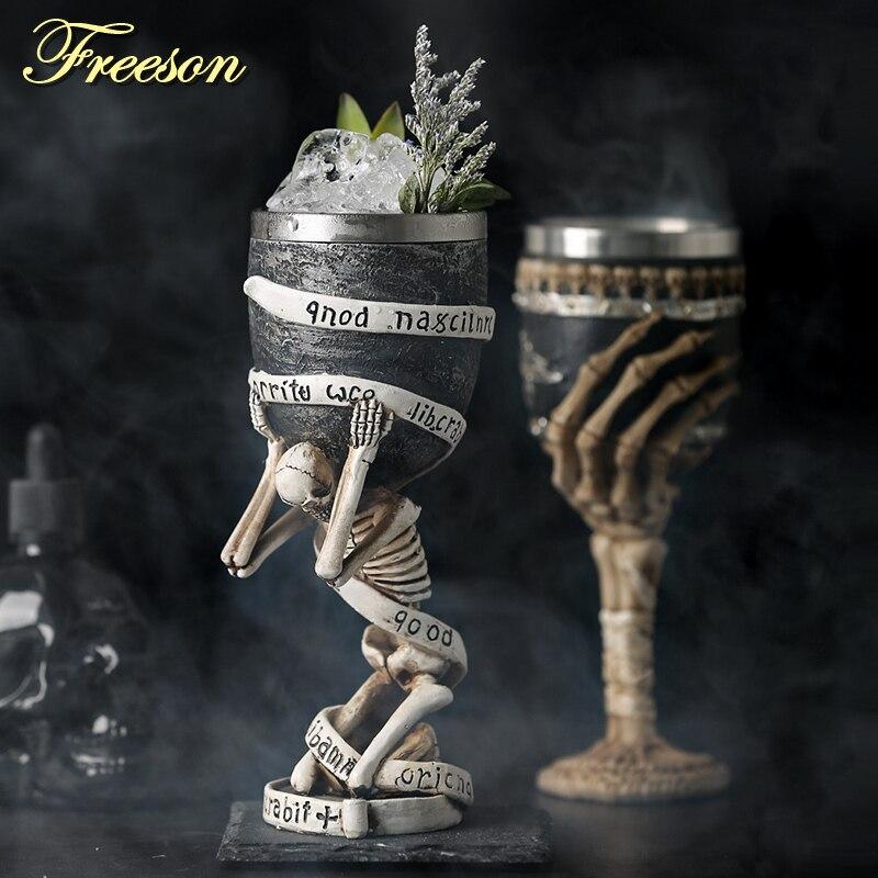 Horrible resina de acero inoxidable cráneo Copa Retro garra vino vidrio gótico cóctel vasos Lobo whisky Copa fiesta Bar bebida