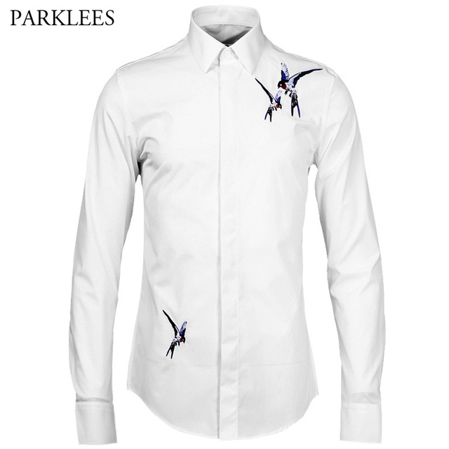 Whatlees Mens Long Sleeve Extra Long Embroidery Design Party Club Button  Down Dress Shirt B404-