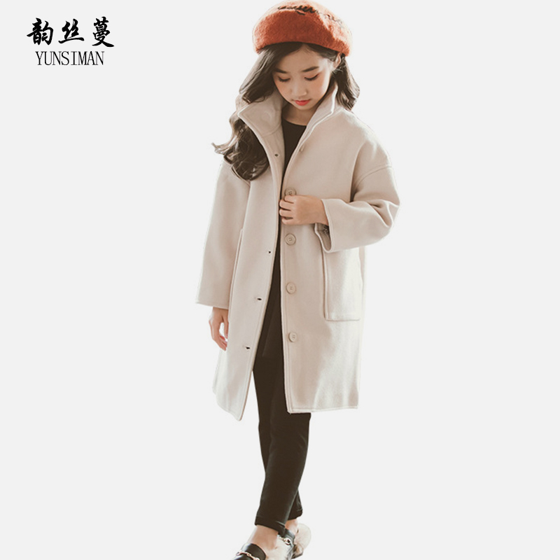 Kids Wool Coat for Girls Autumn Size 7 8 9 10 11 12 Y Red Gray Wool Jacket Fashion Stand Collar Long Sleeve Children Tops 52A1A chic texture spliced stand collar long sleeve jacket