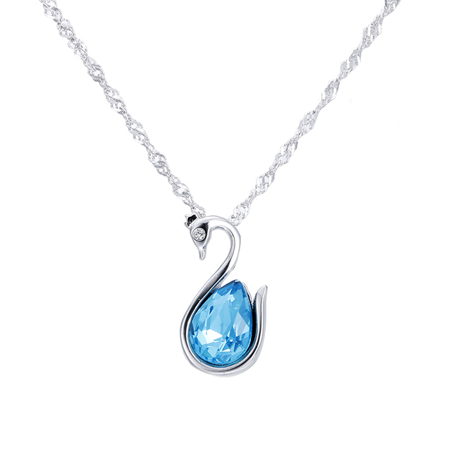 190cc5903 100% 925 sterling silver fashion little cute swan blue crystal women gift  ladies`pendant necklaces jewelry promotion short chain