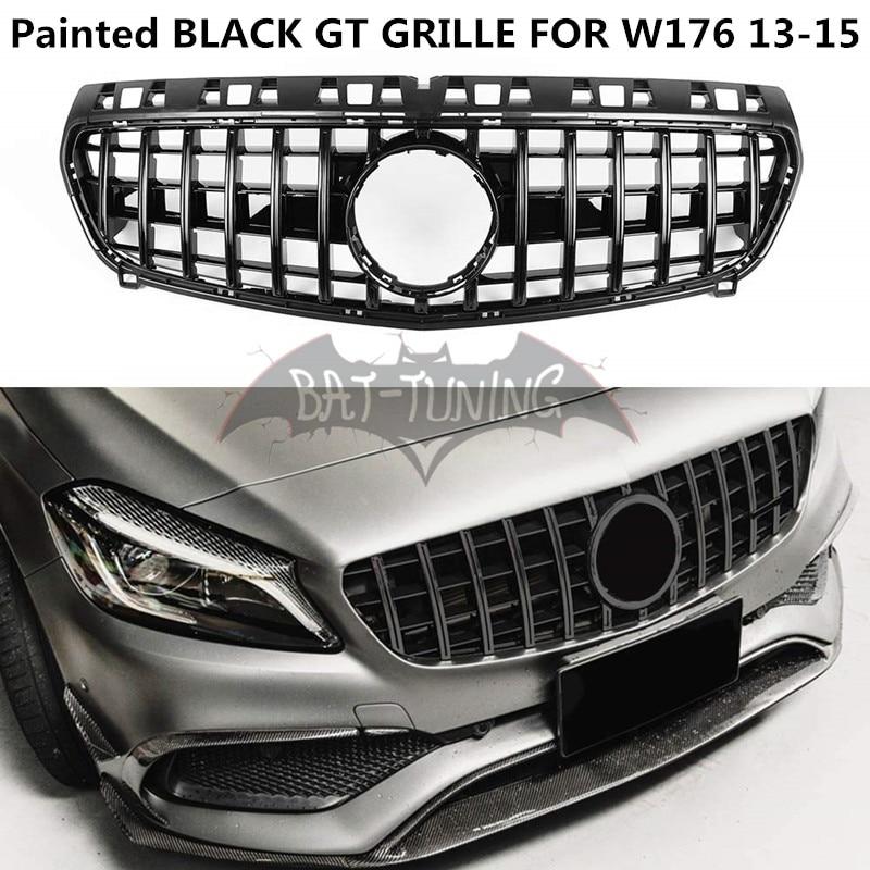 GT Style Gril Pour Mercedes Classe A W176 A180 A200 A250 A260 A300 A45 AMG 2013-2015 Peint Noir ABS Calandre Sans Emblème