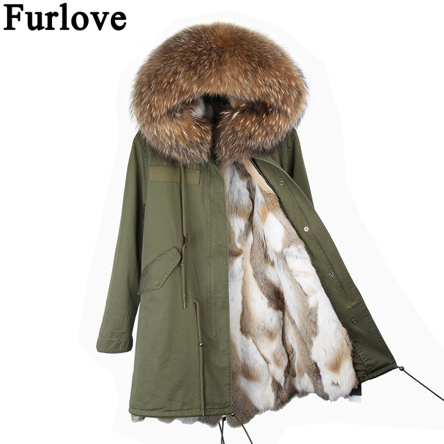 2017 long parkas  winter jacket new fashion women genuine raccoon fur collar hooded coat with thick real rex rabbit fur lining 2017 winter new clothes to overcome the coat of women in the long reed rabbit hair fur fur coat fox raccoon fur collar