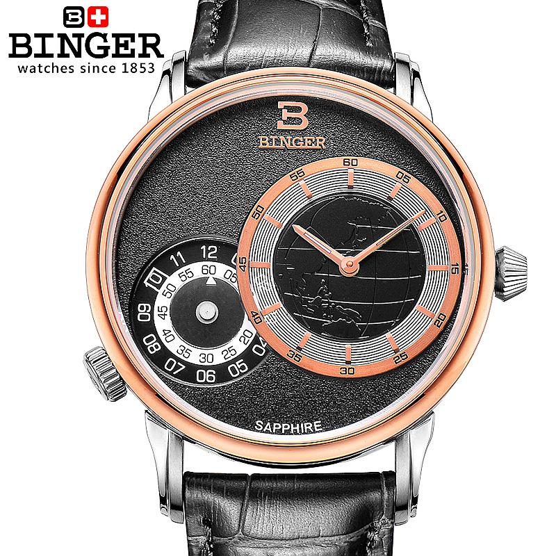 Switzerland watches men luxury brand Wristwatches BINGER 18K gold quartze  leather strap waterproof BG-0389-12Switzerland watches men luxury brand Wristwatches BINGER 18K gold quartze  leather strap waterproof BG-0389-12
