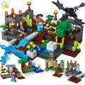 1 町で 4 グループ legorreta Minecrafted 都市のビルディングブロックドラゴンスティーブフィギュアレンガガーデン教育玩具子供のた