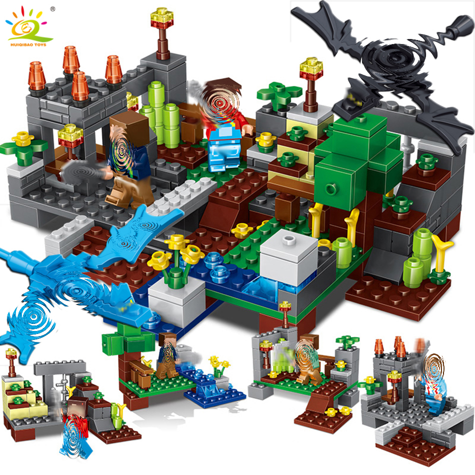 4 في 1 مجموعة تاون متوافق legoingly minecrafted مدينة بنة التنين ستيف أرقام الطوب ألعاب تعليمية للأطفال