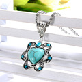 Bohemian wild flowers hollow rhinestone necklace chain sweater turquoise pendant