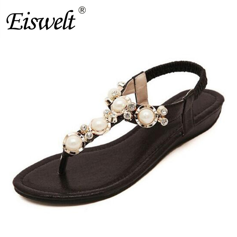 Eiswelt Summer Women Fashion Beading PU Leather Platform Pearl Wedges Sandals Female Shoes Sandals Woman 4 Colors Shoes#DZW20