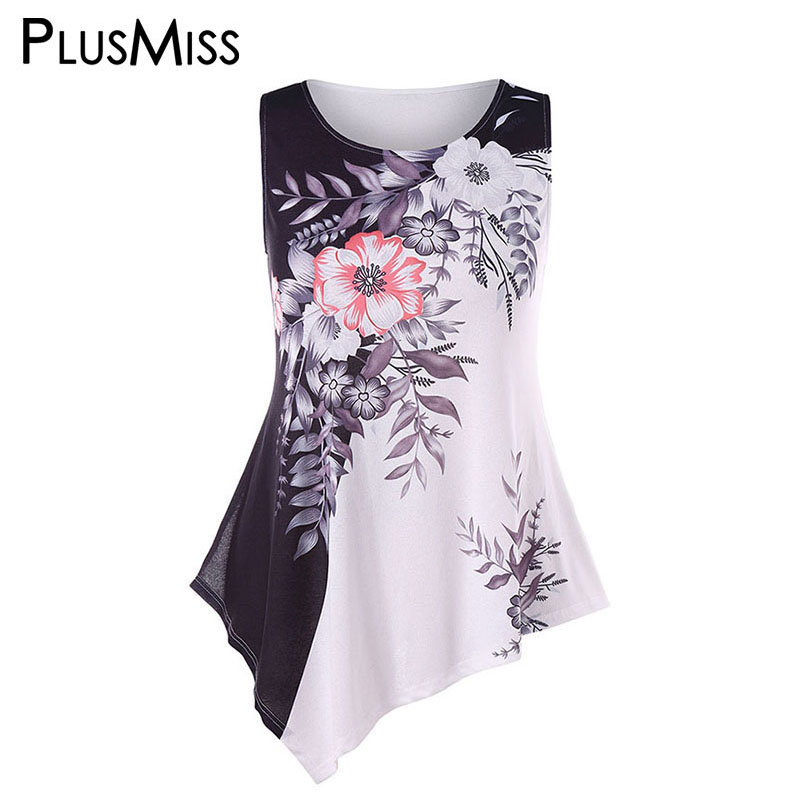 PlusMiss Plus Size 5XL 4XL Floral Flower Print Tunic Tank Tops Women Summer 2018 Sleeveless Boho Beach Vest Top Big Size Ladies