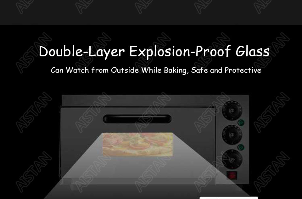 EP1AT electric stainless steel single layer higher chamber pizza oven with timer for baking bread, cake, pizza 17