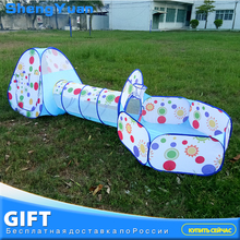 3pcs / set Foldable Baby Pool-Tube-Teepee Toy Telt 3 farver Pop-up Play Tent Toy Børn Tunnel Spil House Balls Pools