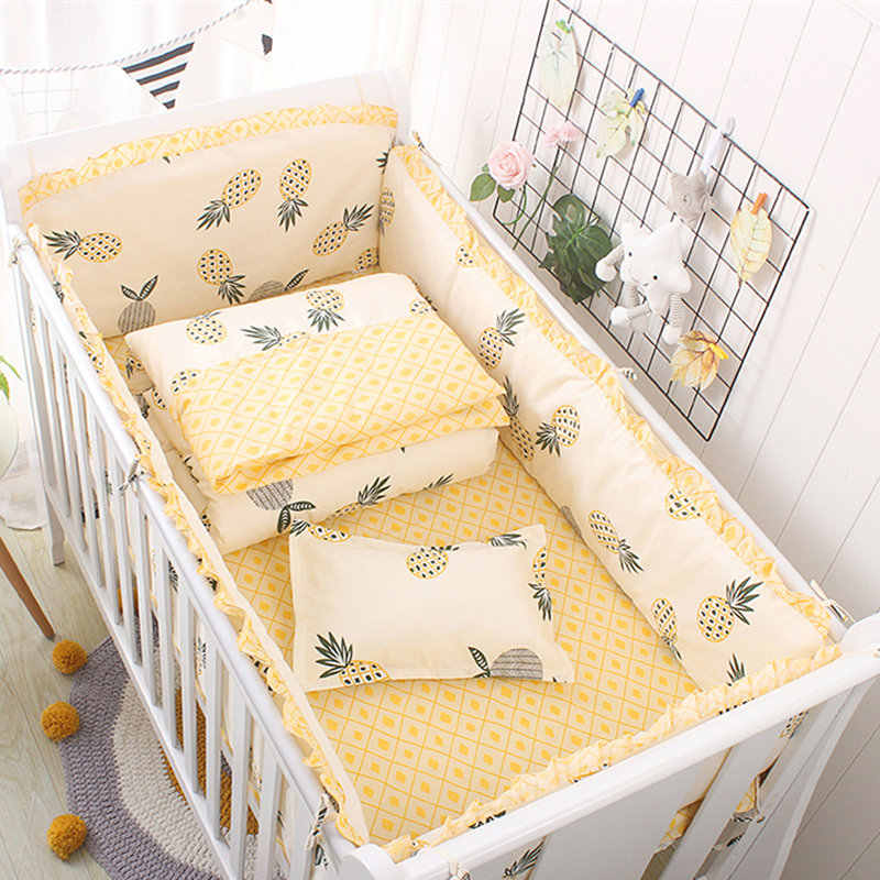 Colorful Clouds Pattern Girl Baby Crib Bedding Set  Newborn Bedding Set Children Cot Set Infant Crib Bumper Sheet Quilt Pillow