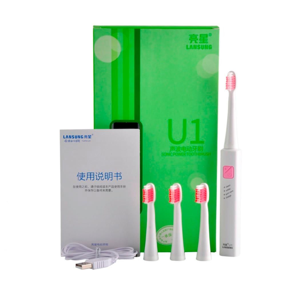 Lansung Cepillo de dientes electrónico u1 Cepillo de dientes ultrasónico Cepillo de dientes eléctrico Cepillo Dental, higiene Oral