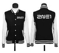 2016 kpop Kroea music group 2NE1 logo coat JACKET Fleece baseball uniform hoodies k pop 2NE1 Autumn winter Sweatshirts moletom
