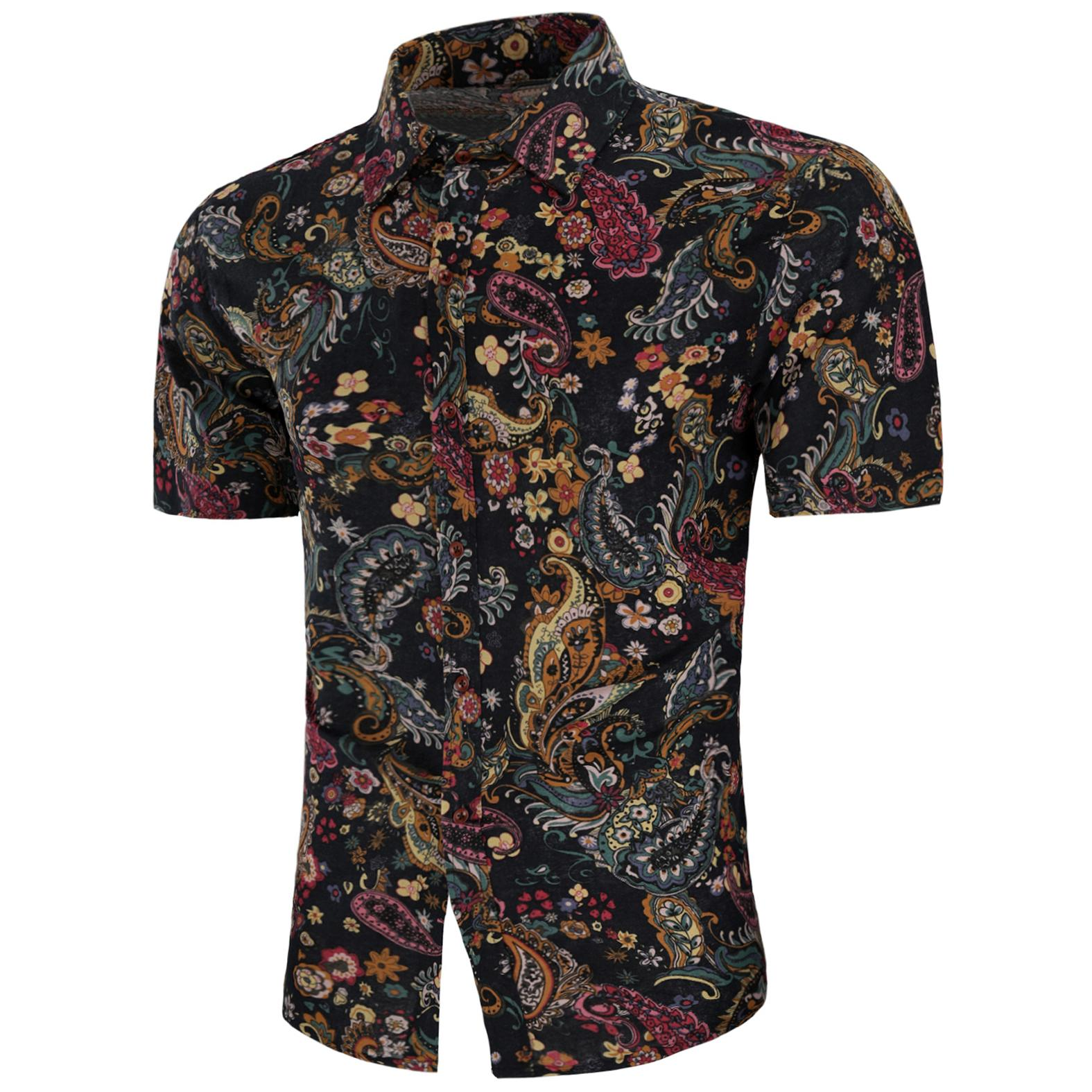 Floral Shirts Mens Linen Short sleeve Blouse Men Flower Summer Slim fit New