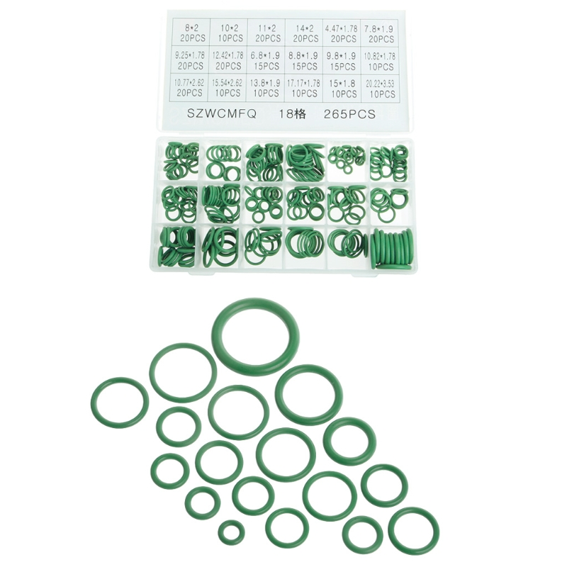 New 265Pcs Car A/C R134a System Air Conditioning O Ring Seals Washer Assorted chrysler a c line o ring 5080519aa
