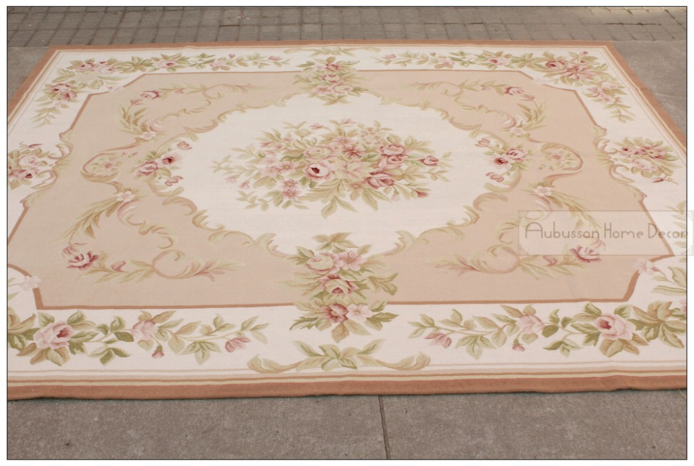 8 39 x10 39 wool hand woven shabby chic french style aubusson for Lampe style shabby chic