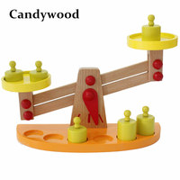 Candywood Wooden Balance Beam Weighing Scale Children Baby Montessori Balance Early Learning Education math/science toy
