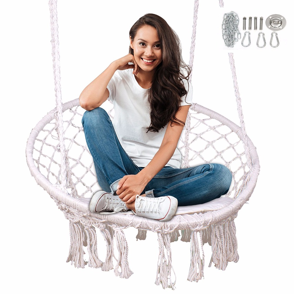 Shock-Resistant And Antimagnetic Indoor Outdoor Hanging Macrame Cradle Waterproof Hammock Chair Swing Chair With Expansion Wire