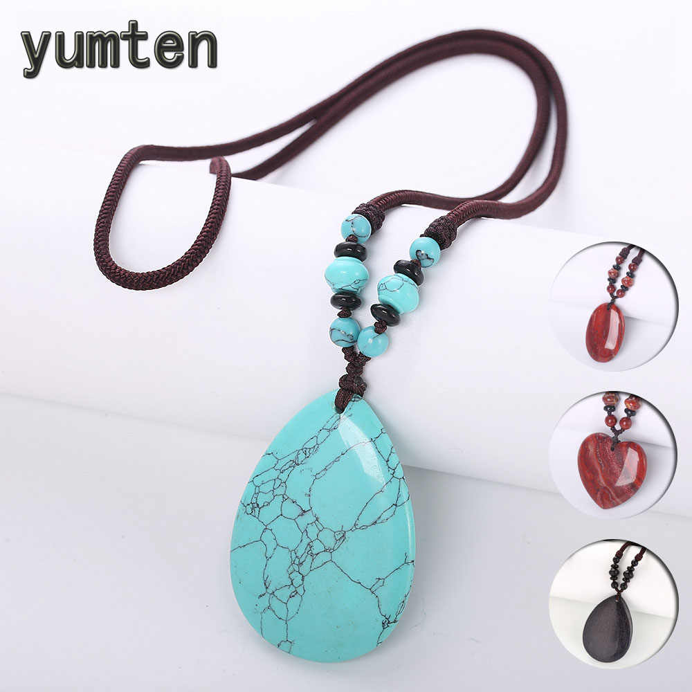 Yumten Turquoise Pendant Necklaces Long Women Sweater Chain Water Drop Accessories Gemstone Bead Jewelry Rose Quartz Female Yoga