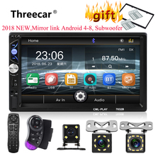 2din Car Radio 7 Touch mirrorlink Auto audio Player for subwoofer MP5 Player Autoradio Bluetooth Rear View Camera tape recorder cheap Radio Tuner 87 5MHz -108MHz 178*100*65mm 1024*600 Aluminum+plastic THREECAR new 7032B Car Radio 2 din for subwoofer 670g