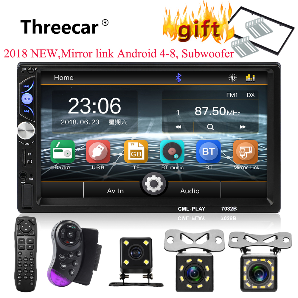 2din Car Radio 7 Touch mirrorlink Auto audio Player for subwoofer MP5 Player Autoradio Bluetooth Rear View Camera tape recorder podofo 2din 7023b car radio 7 touch in dash auto audio player mp5 player autoradio bluetooth rear view camera remote control