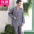 Alta Qualidade Conjuntos de Pijama Pijama Xadrez Twinset 100% de Algodão Novo 2016 Outono Dos Homens Tecido Rayon Pijamas Pijamas dos homens Dos Homens pijama
