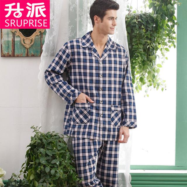 Twinset 100% Algodón de alta Calidad Nuevo 2016 Otoño Pijama Pijama A Cuadros Hombres Rayón Tejido Pijamas ropa de Dormir de Los Hombres de Los Hombres pijamas