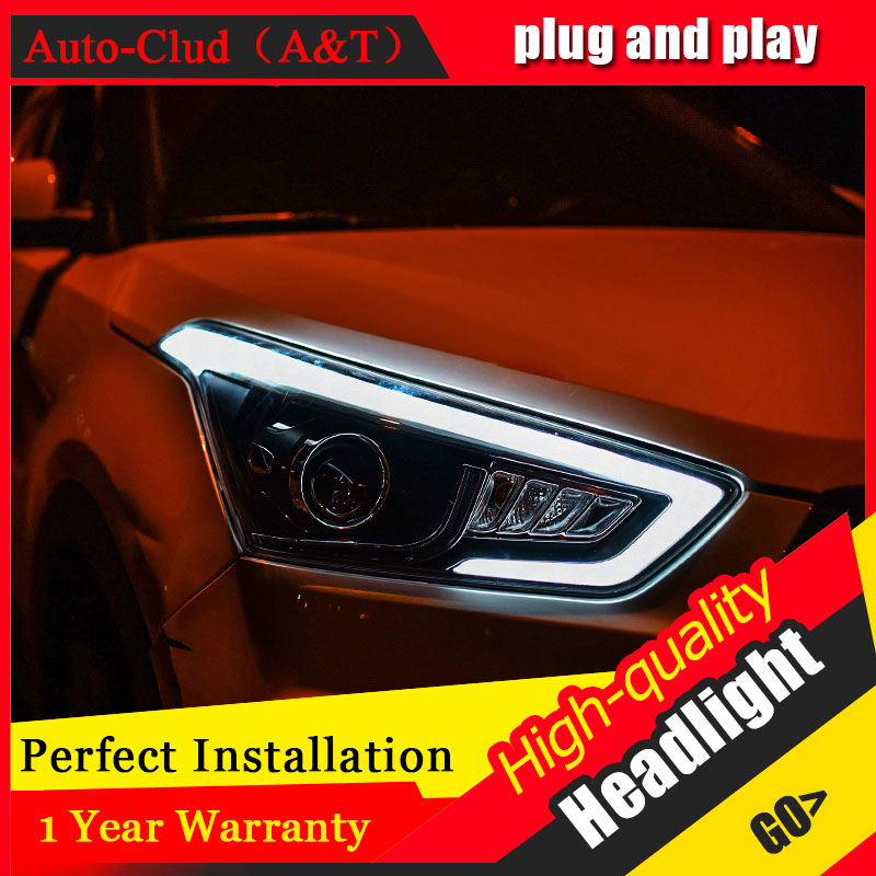 Auto Clud Car Styling For Hyundai Ix25 led headlights 15~ For Ix25 head lamp led DRL front Bi-Xenon Lens Double Beam HID KIT auto clud style led head lamp for benz w163 ml320 ml280 ml350 ml430 led headlights signal led drl hid bi xenon lens low beam