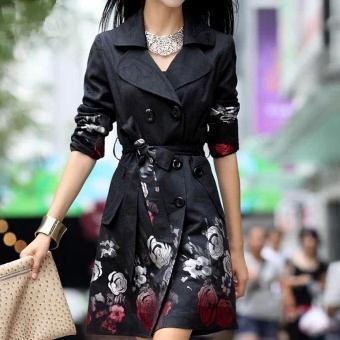 La Taille Tranchée Nouvelles Impression De Mode Boutonnage Plus D'hiver Mince Rose Jacquard Noir Femmes Manteau Survêtement Double xqw4wZC6