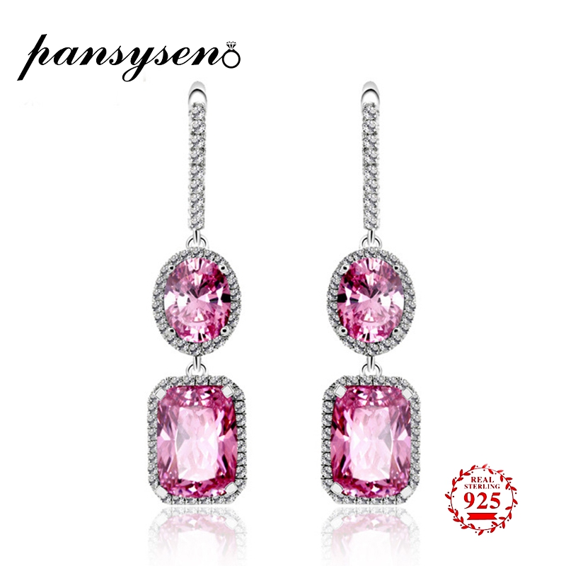 PANSYSEN Elegant Jewelry Drop Earrings For Women 100 Real 925 Sterling Silver Earrings Party Wedding Engagement Gifts Wholesale in Earrings from Jewelry Accessories