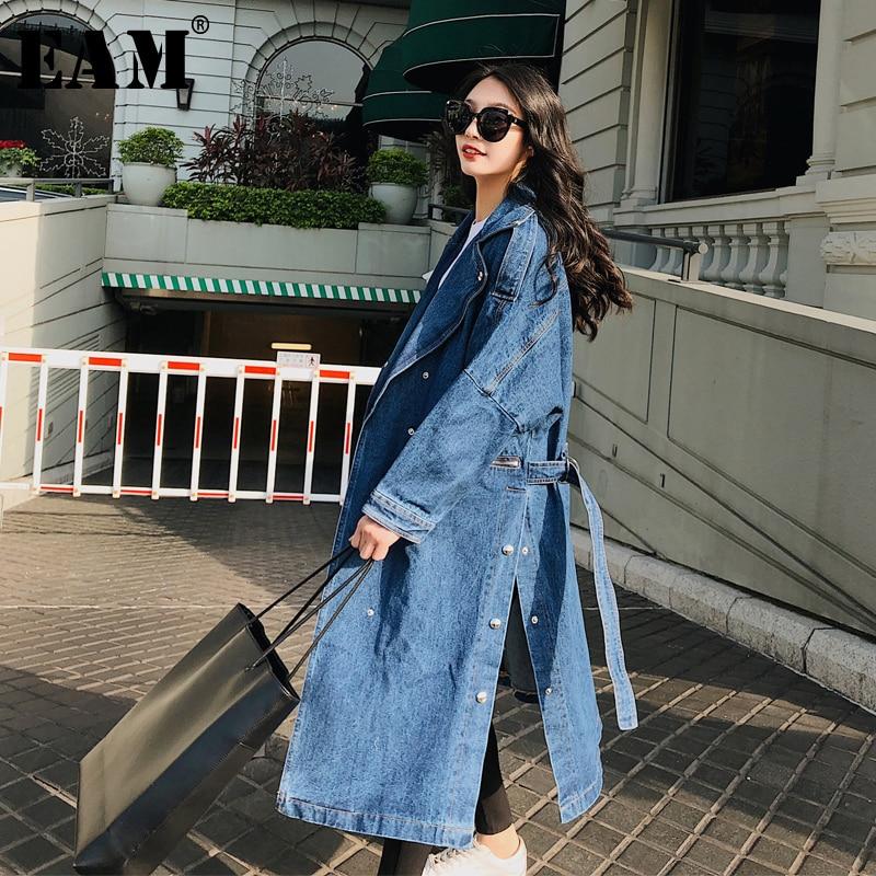 [EAM] 2019 New Autumn Lapel Long Sleeve Pockets Vent Bandage Loose Denim Long Big Size Windbreaker Women   Trench   Fashion JY433