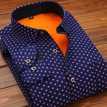 Autumn spring winter men shirt with velvet thick male thermal plus print long-sleeve slim clothing casual warm
