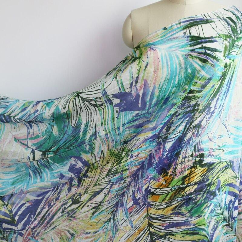 Green printed silk chiffon gauze mulberry fabric for beach dress 100cm*140cm