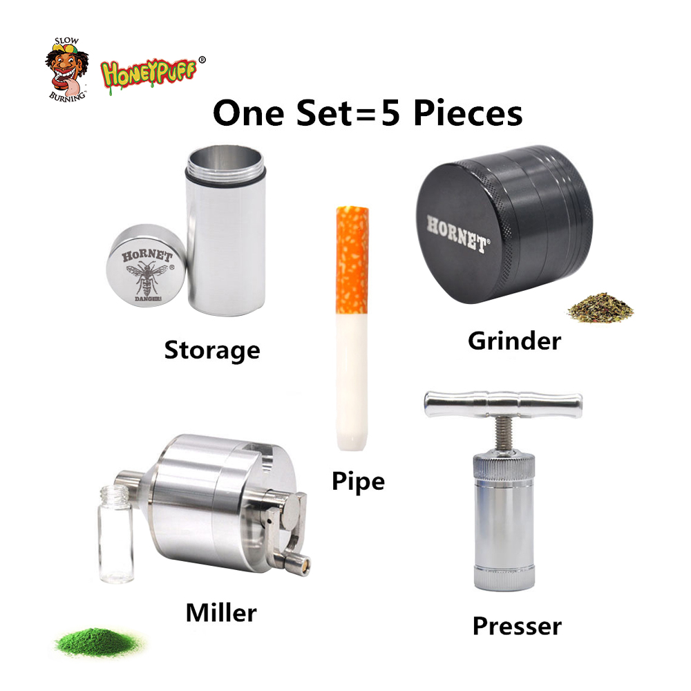 """Smēķēšanas komplekts-alumīnija Dia.1.97 """"Zāļu dzirnaviņas + piltuves Miller roktura drupinātājs + krātuves trauks + putekšņu spiedējs + keramikas caurule"""