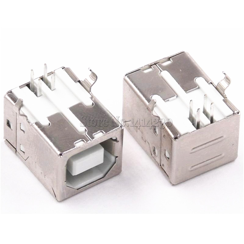 10Pcs Square USB Socket Usb B Type Female 90 Degree PCB Welding Parent Connector For Printer Data