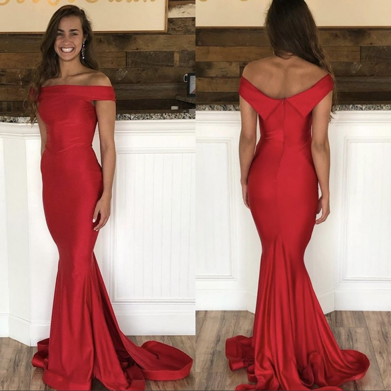 Fashion Red   Prom   Gowns Boat Neck Off The Shoulder Mermaid Court Train Satin Pleated   Prom     Dresses   Party Gown For   Prom