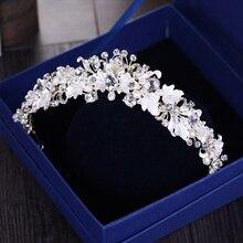 Fashion Flower Crystal tiara diadem For Bride Hair Jewelry Handmade Rhinestone Pearl Wedding Crown Headpiece Hair Accessories