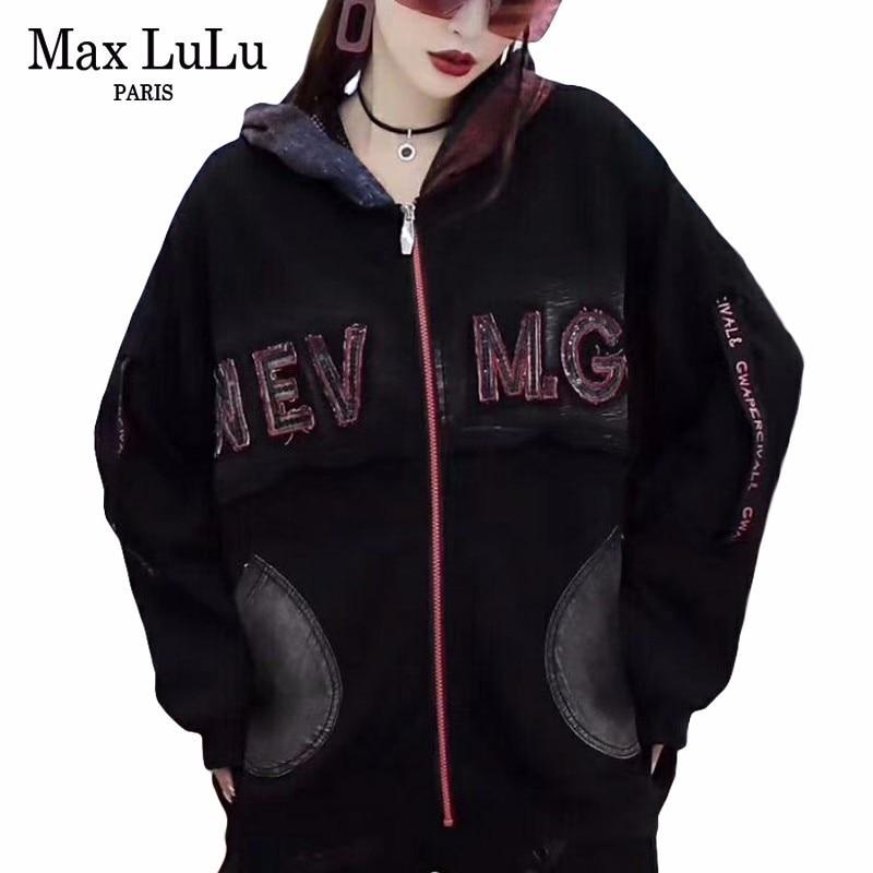 Max LuLu jesień 2018 moda koreański styl panie Punk Streetwear kobiet w stylu Vintage kurtka z kapturem Bts wiatrówka kobieta płaszcze casualowe w Podstawowe kurtki od Odzież damska na  Grupa 1