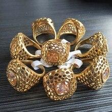 Полое украшение змея золотого цвета из нержавеющей стали кольцо для женщин американский размер 6#, 8#, 9# с CZ