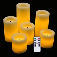 LED Flameless Flickering Candles Optical Fiber Wick with Remote and Timer,Battery Operated Wax Candles 6 Pack Decoration