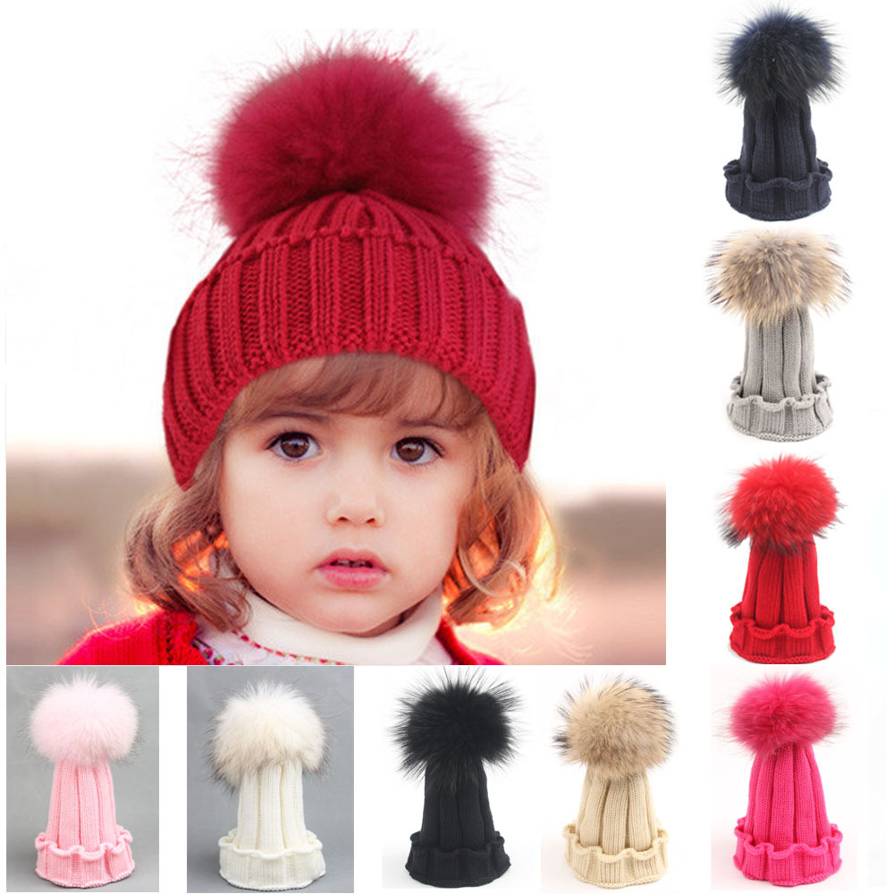 baby caps hats Large 15cm warm winter Raccoon Fox Fur Hat For Girls Boys Real Fur pompoms Ball Baby Beanies knitting wool hat