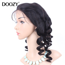 Doozy 7A glueless brazilian full lace wig bleached knots loose wave bob lace front human hair wigs