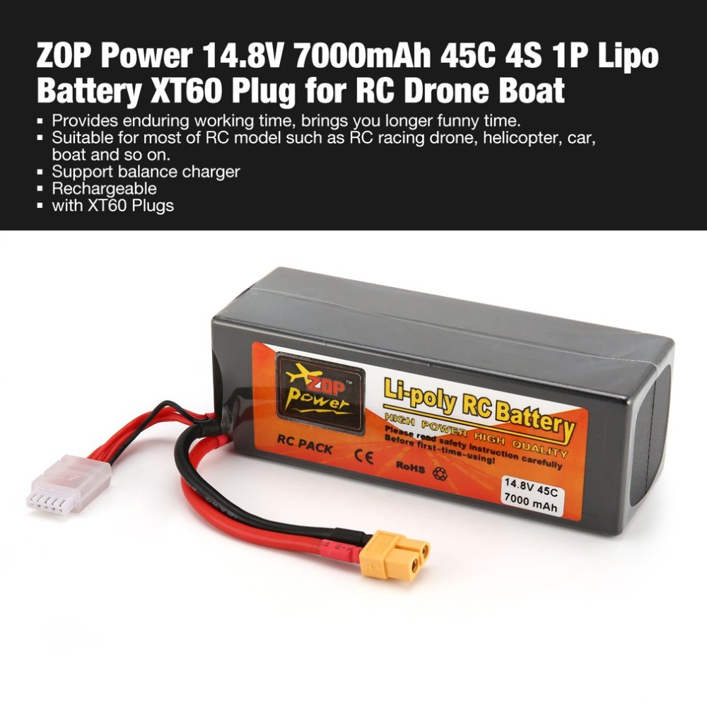 ZOP Power 14.8V <font><b>7000mAh</b></font> 45C <font><b>4S</b></font> 1P <font><b>Lipo</b></font> Battery XT60 Plug Rechargeable for RC Racing Drone Quadcopter Helicopter Car Boat Model image